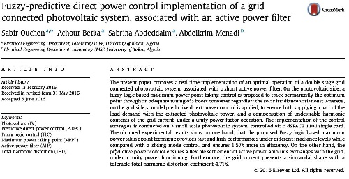 شبیه سازی  مقاله برق سال 2016-Fuzzy predictive DPC implementation of a grid connectedPV system,  with  active power filter